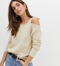 River Island Jumper With Asymmetric Shoulder In Oatmeal Beige