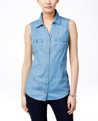 Styleandco. Style And Co. Sleeveless Denim Shirt Only At Macy's Sun Wash