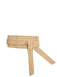 A.W.A.K.E. Checked Cotton Wraparound Belt Beige