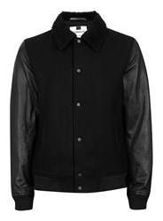 Topman Black Contrast Sleeve Faux Shearling Collar Bomber Jacket