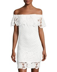 Romeo And Juliet Couture Off The Shoulder Lace Overlay Dress White