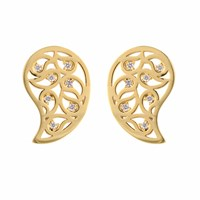 Sonal Bhaskaran Reya Gold Paisley Earrings Clear Cz