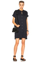 James Perse Rolled Sleeve Shirt Dress In Blue