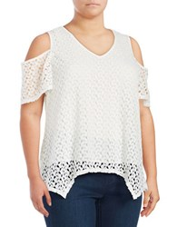 Chelsea And Theodore Plus Cold Shoulder Lace Top White