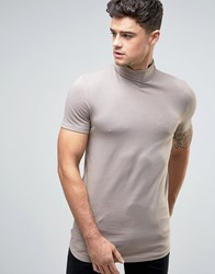 Asos Longline Muscle T Shirt With Turtle Neck And Curved Hem In Brown Clam