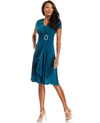 R And M Richards Short Sleeve Faux Wrap Dress Emerald