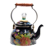 Mackenzie Childs Flower Market Enamel Tea Kettle Black Large