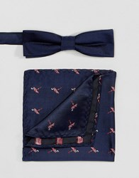 Peter Werth Bow Tie And Pocket Square Set Blue