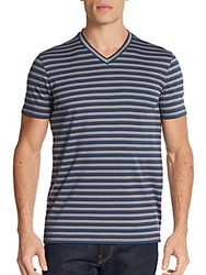 Saks Fifth Avenue Engineer Striped V Neck Tee Denim Charcoal