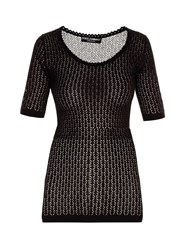 Dolce And Gabbana Scoop Neck Chevron Knit Sweater