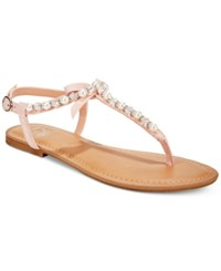 Material Girl Perlie T Strap Flat Sandals Only At Macy's Women's Shoes Blush