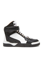 Givenchy High Top Calfskin Leather Sneakers In White Black