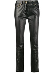 Moschino Leather Effect Slim Fit Trousers Black