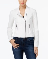Armani Exchange Long Sleeve Moto Blazer Off White