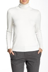 Susina Long Sleeve High Rib Cuff Turtleneck Petite White
