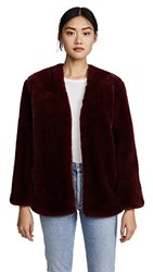 Moon River Faux Fur Coat Burgundy