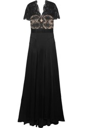 Catherine Deane Gazelle Guipure Lace And Satin Gown Black
