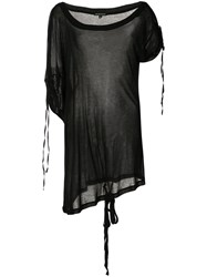 Ann Demeulemeester Sheer Asymmetric T Shirt Women Rayon 38 Black