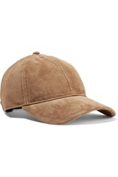 Rag And Bone Marilyn Leather Trimmed Suede Baseball Cap Tan