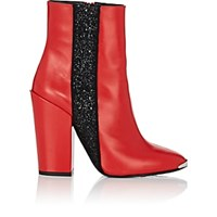 Amiri Glitter Stripe Leather Ankle Boots Red