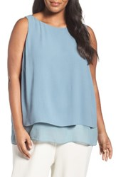 Eileen Fisher Plus Size Women's Silk Georgette Crepe Tiered Tank Blue Steel