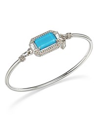 Judith Ripka Sterling Silver Avery Doublet Bangle With Rock Crystal Blue Silver