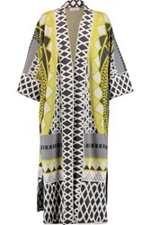Temperley London Gayla Intarsia Stretch Knit Coat Yellow