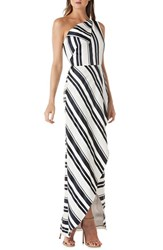Kay Unger One Shoulder Cross Front Maxi Dress Navy White