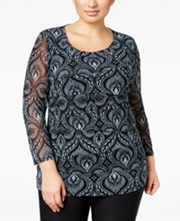 Alfani Plus Size Tiered Printed Mesh Top Only At Macy's Deco Chambray