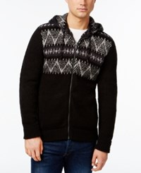 Dkny Jeans Jacquard Pattern Yoke Full Zip Sweater