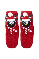 Forever 21 Penguin Slipper Socks Red Multi