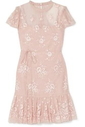Needle And Thread Ashley Embroidered Tulle Mini Dress Blush
