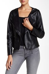 Max Studio Faux Suede Lined Faux Leather Jacket Black