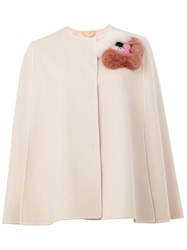 Fendi Fur Applique Cape White