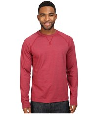 The North Face Long Sleeve Copperwood Crew Biking Red Heather Men's Clothing Orange