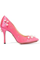Charlotte Olympia Precious Bacall Embellished Satin Pumps Pink Usd