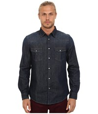 Ben Sherman Long Seeve Denim Western Shirt Ma11406 Three Month Vintage Indigo Men's Long Sleeve Button Up Blue
