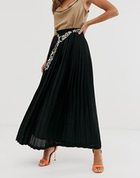 Girl In Mind Pleated Chiffon Maxi Shirt Black