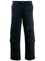 Valentino Cargo Panelled Camouflage Trousers Blue