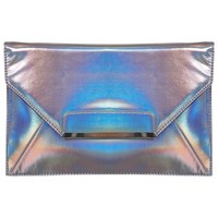 Miss Selfridge Hologram Clutch Bag Pewter