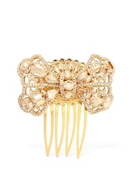 Dolce And Gabbana Crystal Bow Hair Comb Gold