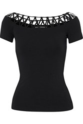 Bailey 44 Lattice Trimmed Ribbed Knit Top Black