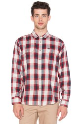 Obey Ridley L S Button Up Shirt Red