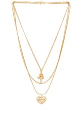 Vanessa Mooney Cielo Rose And Amor Layered Necklace Metallic Gold