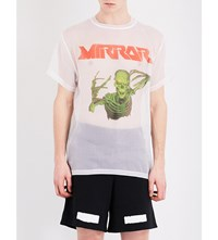 Off White C O Virgil Abloh Skeleton Print Silk T Shirt White
