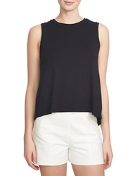 1.State Draped Bubble Hem Keyhole Top Black