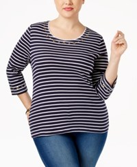 Karen Scott Plus Size Striped Grommet Top Only At Macy's Intrepid Blue