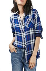 Topshop Women's 'Ali' Check Double Pocket Shirt