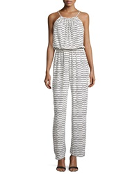 Romeo And Juliet Couture Triangle Print Sleeveless Jumpsuit Cream Black