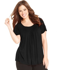 Style And Co. Plus Size Short Sleeve Pleated Top Black